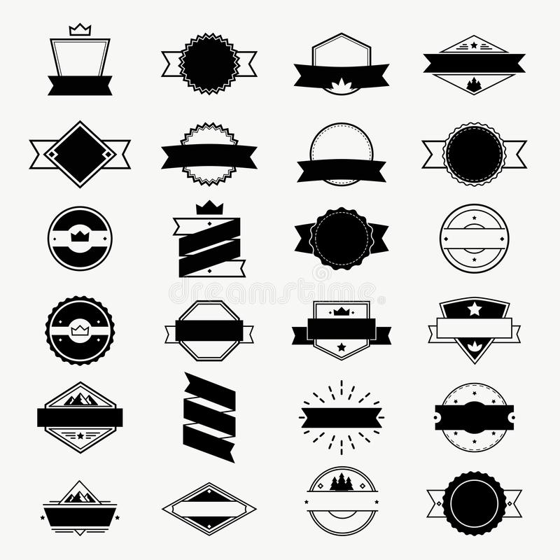 Uitstekende geplaatste etiketten en kentekens, vectoremblemen, zegel en kaderontwerpelementen vector illustratie