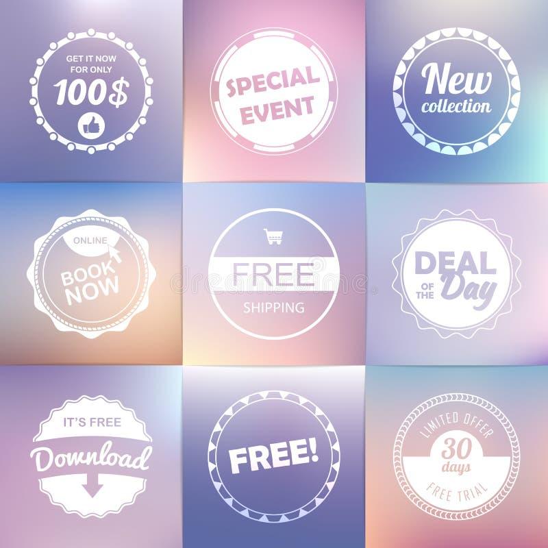 Uitstekende geplaatste etiketten: het vrije vrij verschepen, nieuwe download, vector illustratie