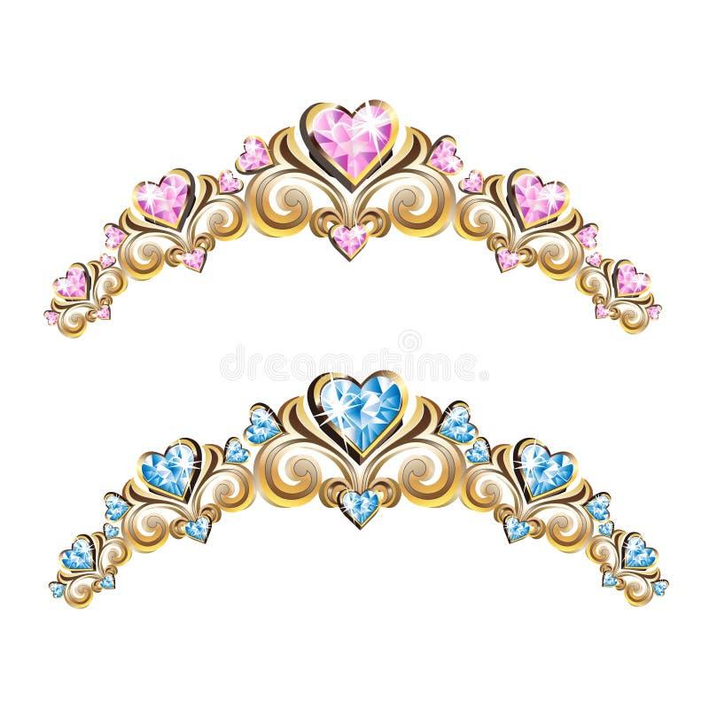 Uitstekende geplaatste juwelendiademen stock illustratie