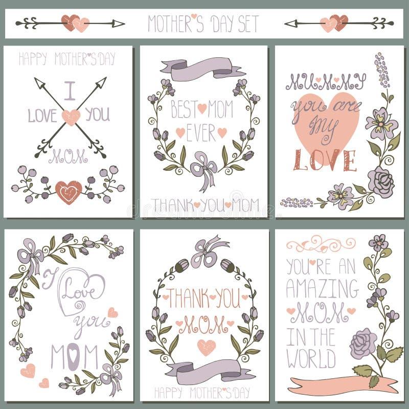 Uitstekende geplaatste kaarten Krabbel bloemendecor De dag van moeders vector illustratie