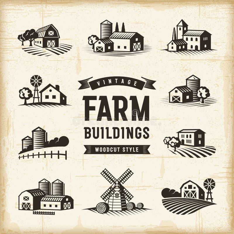 Uitstekende Geplaatste Landbouwbedrijfgebouwen stock illustratie