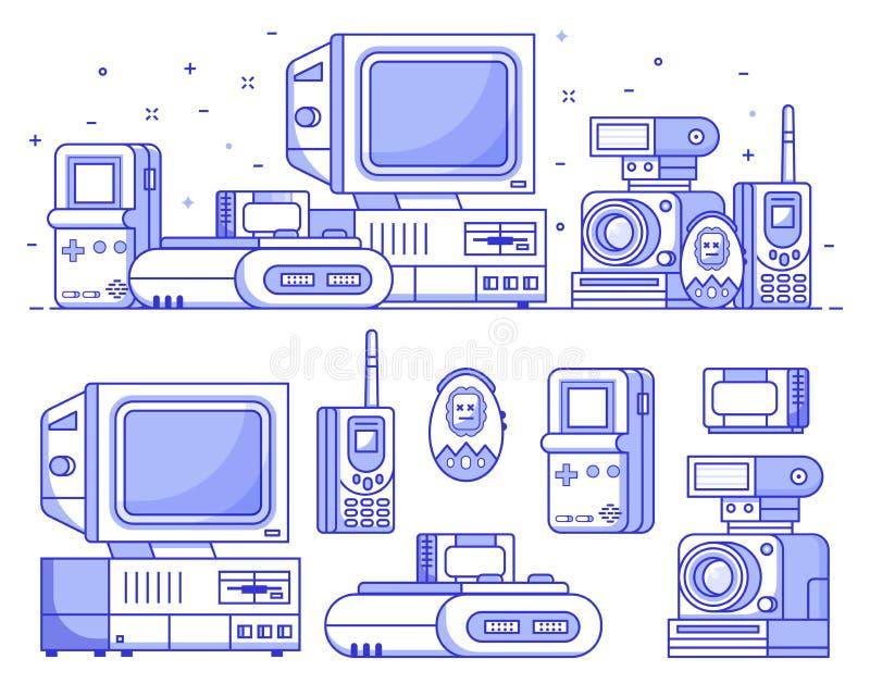 Uitstekende Geplaatste Technologie en Elektronische Apparaten royalty-vrije illustratie