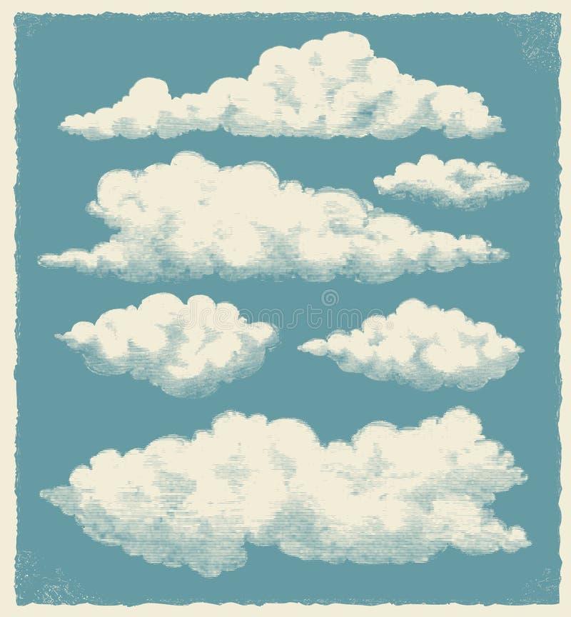 Uitstekende geplaatste wolk - vectorillustratie stock illustratie