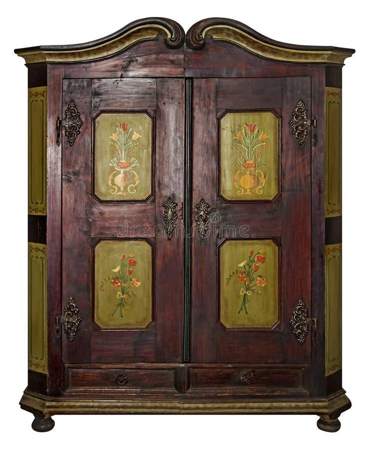 Uitstekende geschilderde houten die garderobe met het Knippen van Weg op w wordt geïsoleerd stock afbeeldingen