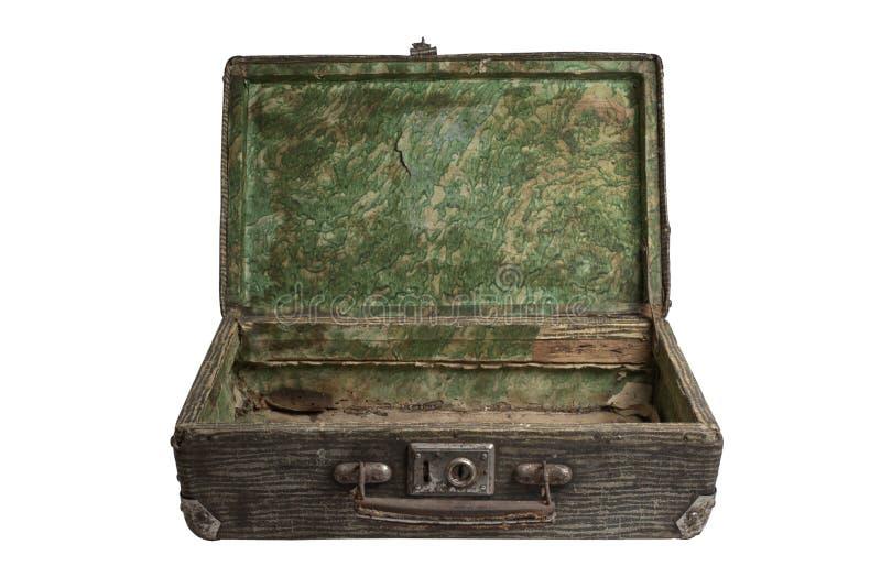 Uitstekende gestreepte open koffer royalty-vrije stock foto's