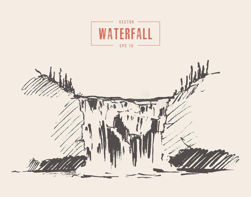 Uitstekende getrokken illustratie van mooie waterval vector illustratie