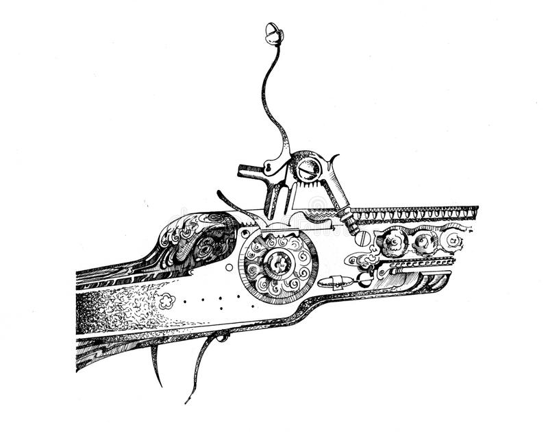 Uitstekende geweerbout, grafische tekening vector illustratie