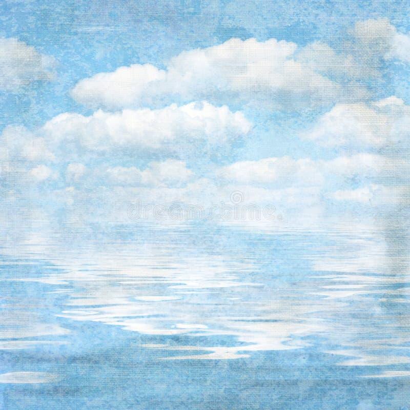 Uitstekende geweven blauwe hemel als achtergrond vector illustratie