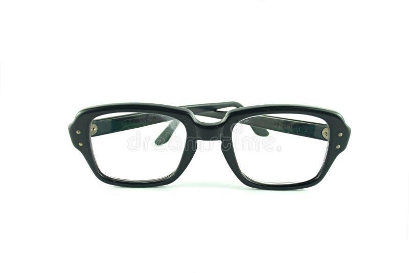 Uitstekende glazen met zwart geïsoleerd kader stock foto