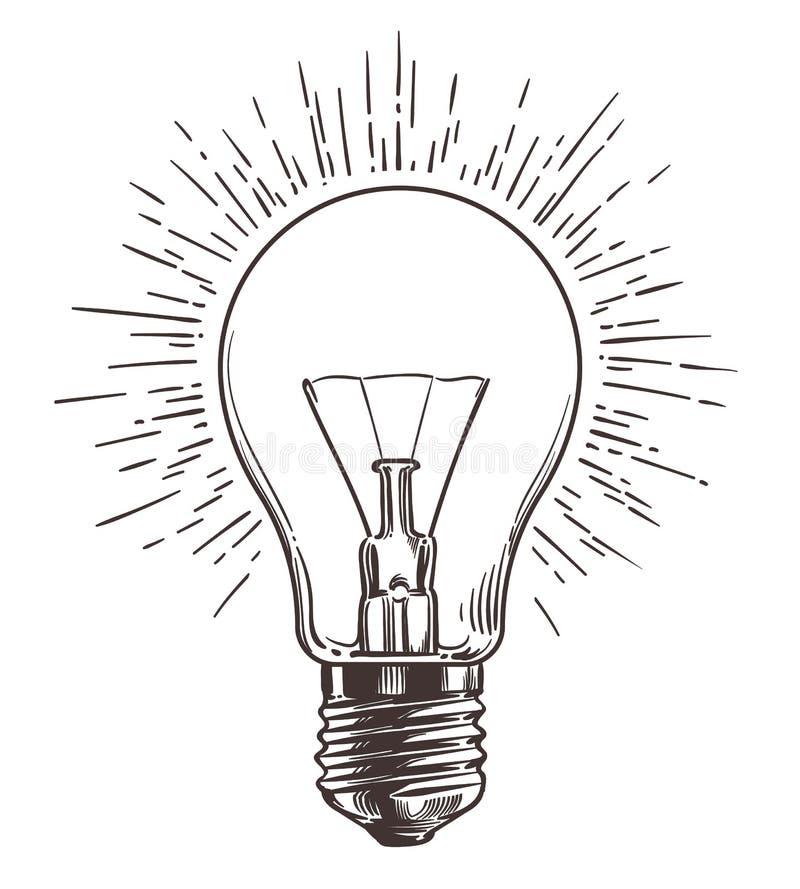 Uitstekende gloeilamp in gravurestijl Hand getrokken retro lightbulb met verlichting voor ideeconcept Vector stock illustratie