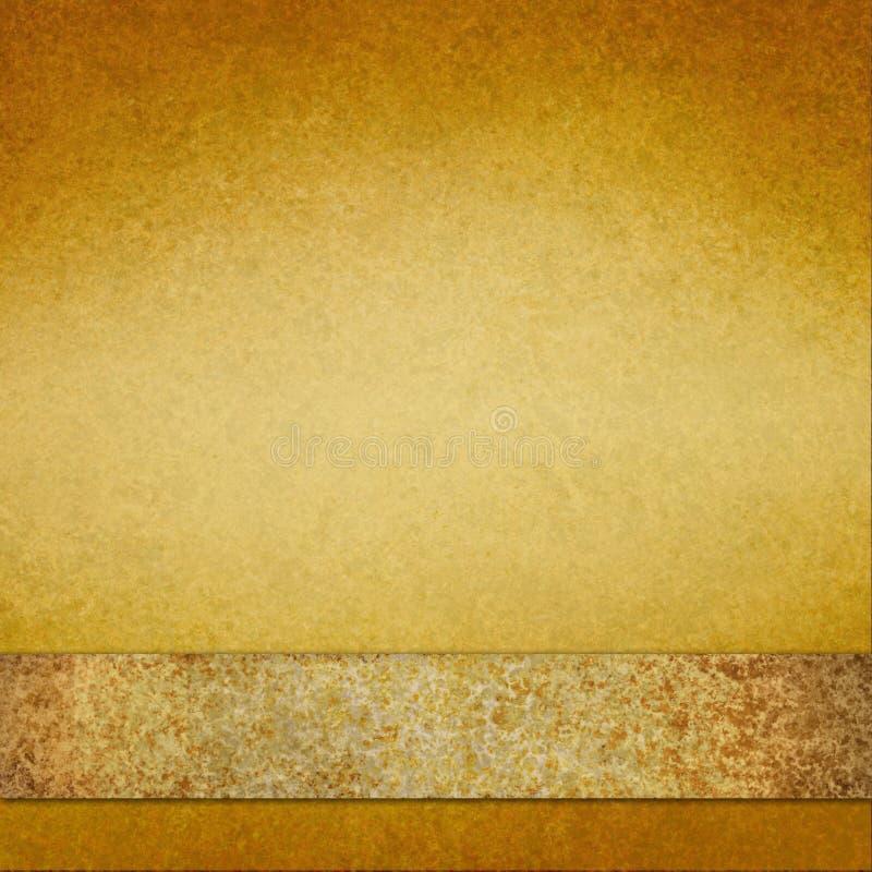 Uitstekende gouden achtergrond met bruin gouden lint stock foto