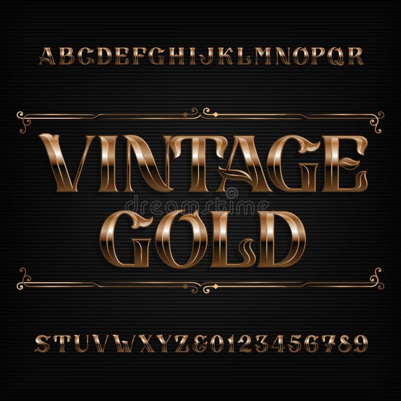 Uitstekende gouden alfabetdoopvont Overladen metaaleffect letters en getallen vector illustratie