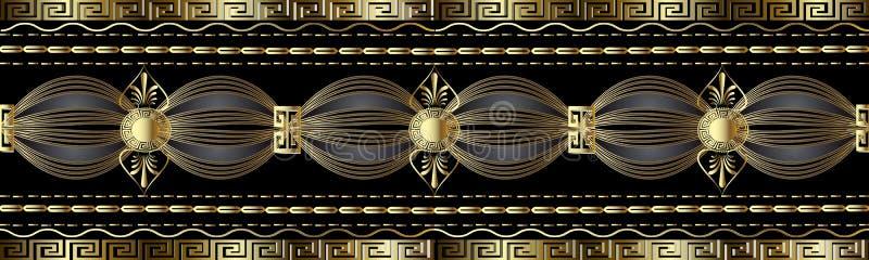 Uitstekende gouden Griekse 3d grens De vector kronkelt naadloos patroon royalty-vrije illustratie