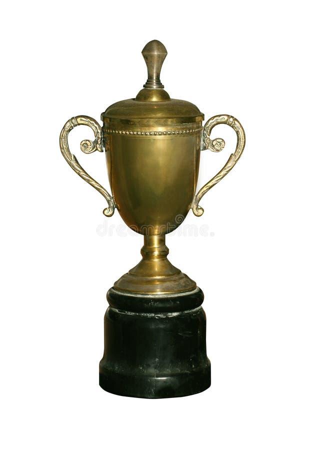 Uitstekende gouden kop met weg royalty-vrije stock afbeeldingen