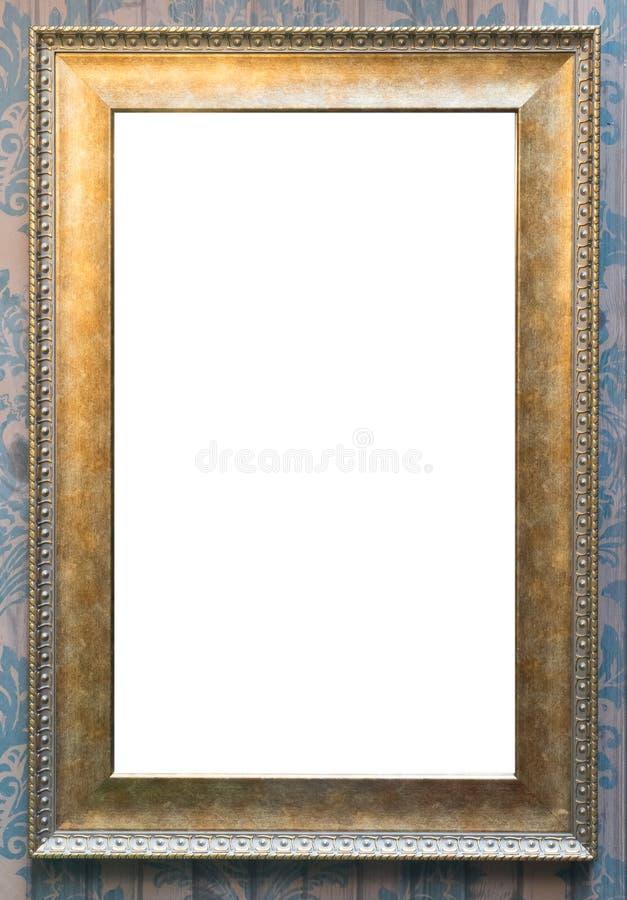 Uitstekende gouden lege omlijsting voor foto en art. stock afbeeldingen