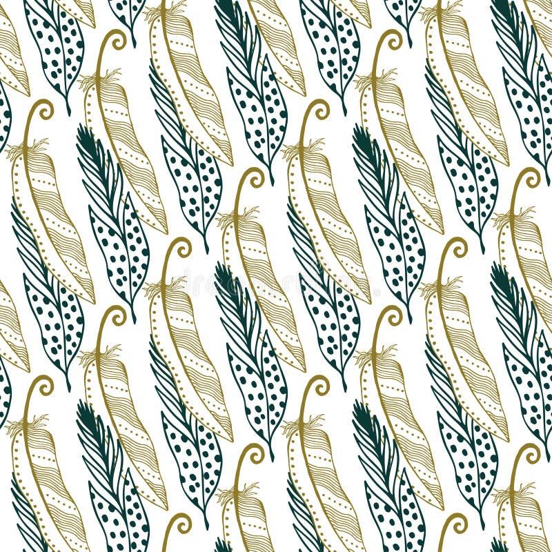 Uitstekende gouden veren naadloze achtergrond Hand getrokken illustratie Uitstekende Boheemse stammenverenachtergrond stock illustratie