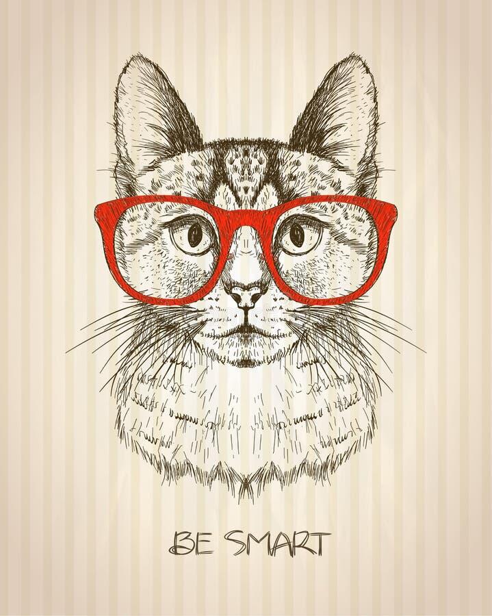 Uitstekende grafische affiche met hipsterkat met rode glazen royalty-vrije illustratie