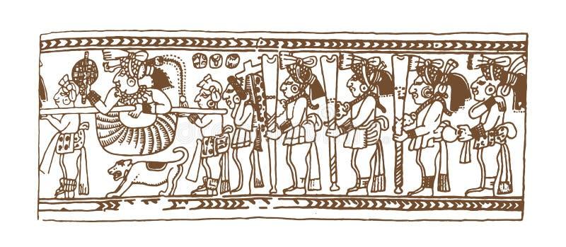 Uitstekende grafische maya glyphs, inca en Azteekse dierenriemornamenten en symbolen in oude Amerikaanse Indische stijl Vector stock illustratie