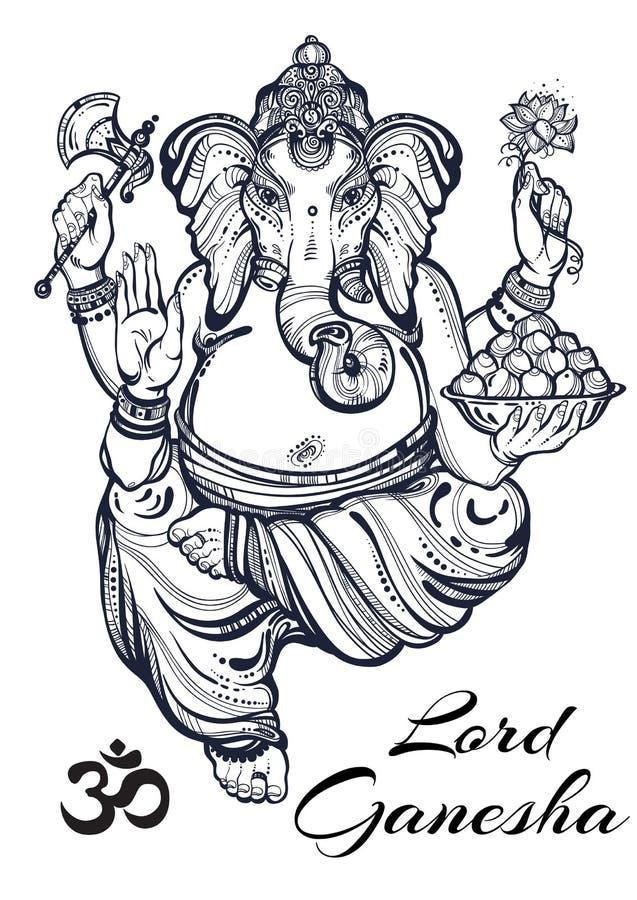 Uitstekende grafische stijl Lord Ganesha De vectorillustratie van uitstekende kwaliteit, tatoegeringskunst, yoga, Indiër, kuuroor vector illustratie