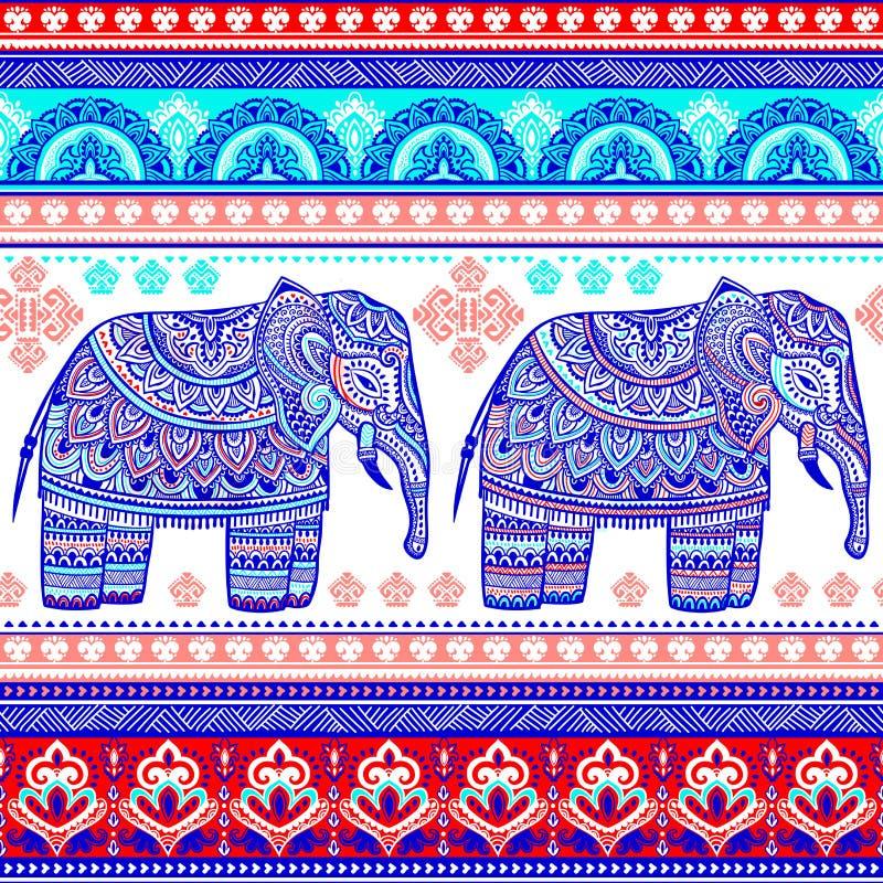 Uitstekende grafische vector Indische lotusbloem etnische olifant Afrikaanse tri royalty-vrije illustratie