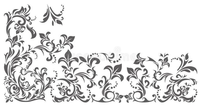 Uitstekende grens met bloemenornament vector illustratie