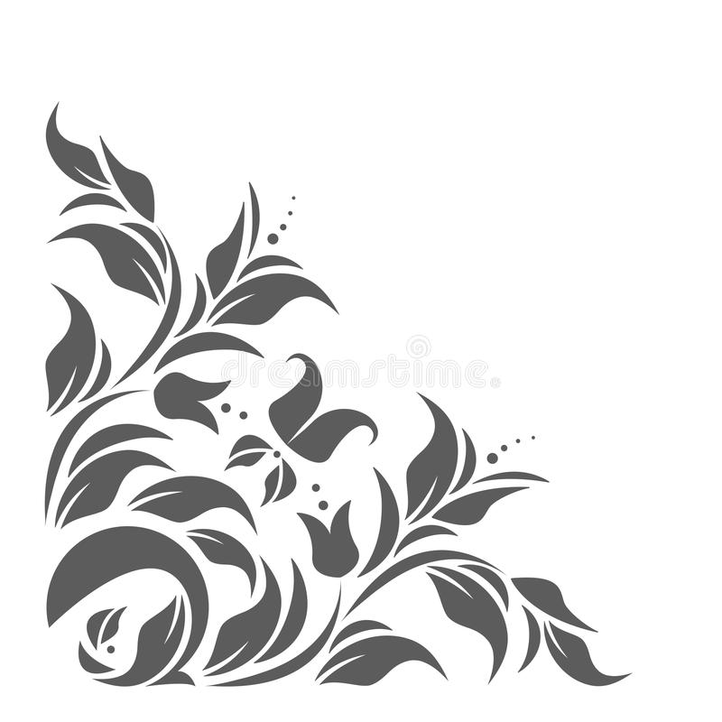 Uitstekende grens met klassiek bloemenornament royalty-vrije illustratie