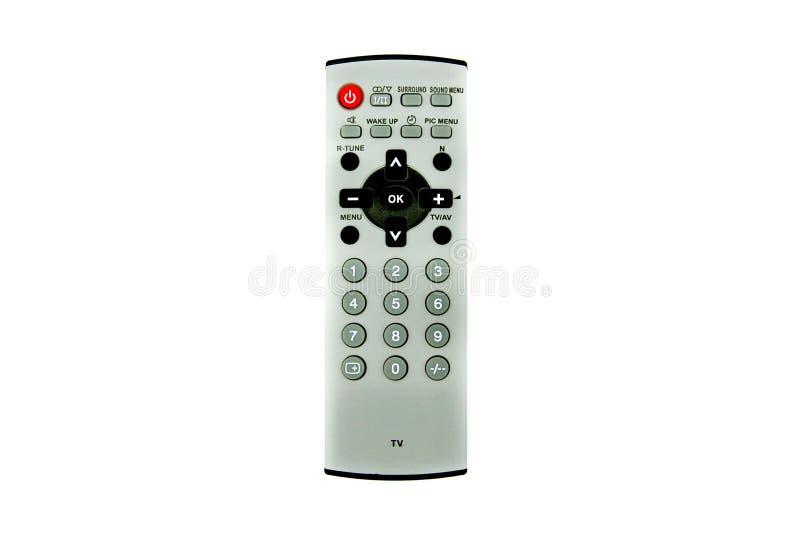 Uitstekende grijze verre TVTelevision voor controle, uitgezocht kanaal, increse en decrese volume stock fotografie