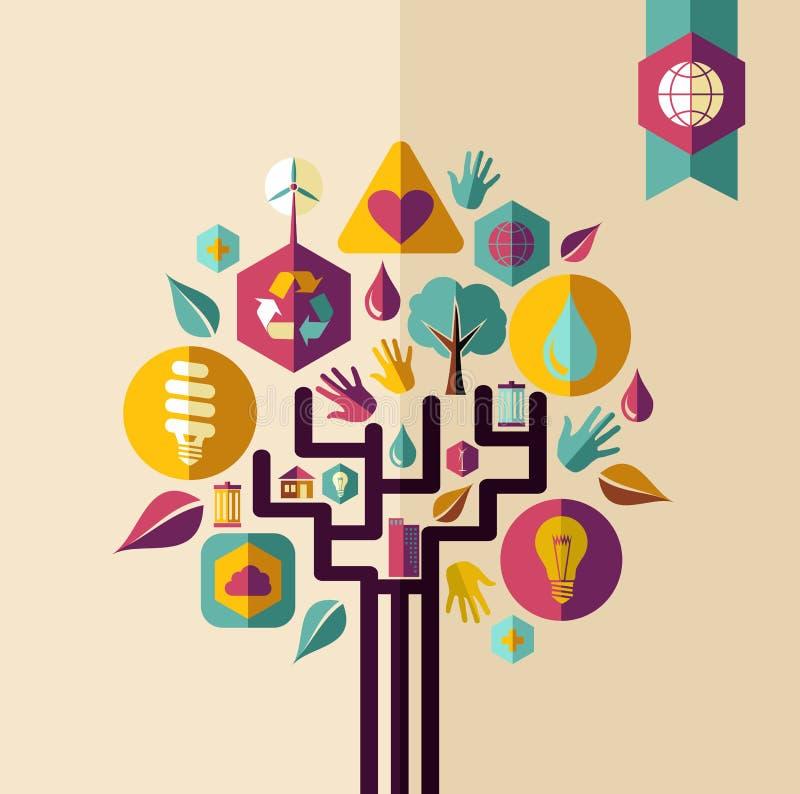 Uitstekende groene conceptenboom vector illustratie