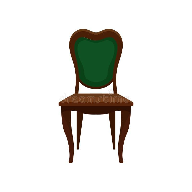 Uitstekende groene stoel, comfortabel meubilair, element voor huis binnenlandse vectorillustratie op een witte achtergrond stock illustratie