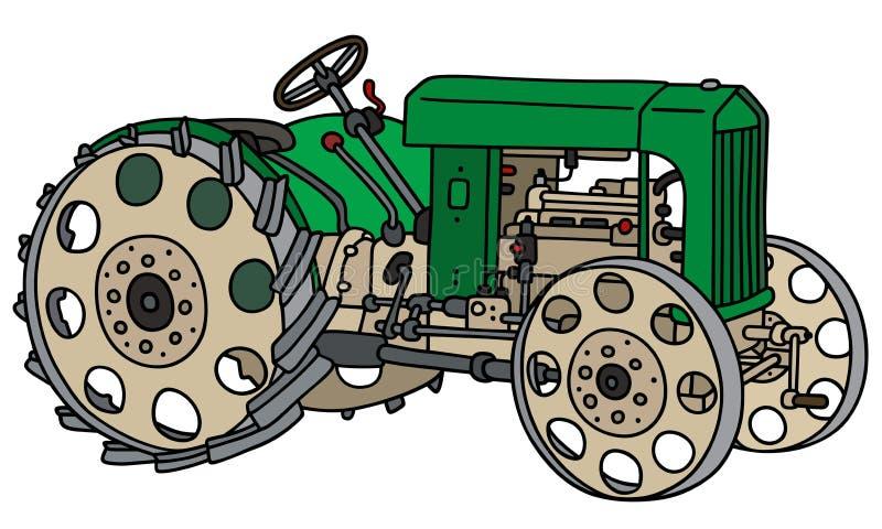 Uitstekende groene tractor stock illustratie