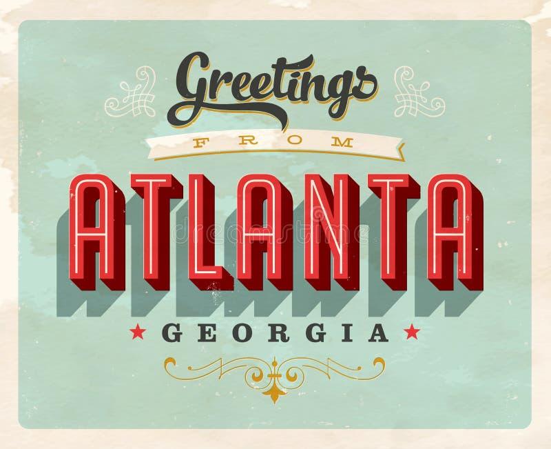 Uitstekende groeten van de Vakantiekaart van Atlanta royalty-vrije illustratie