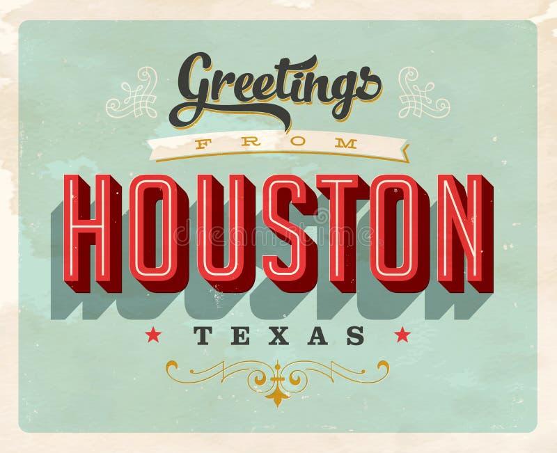 Uitstekende groeten van de vakantiekaart van Houston royalty-vrije illustratie