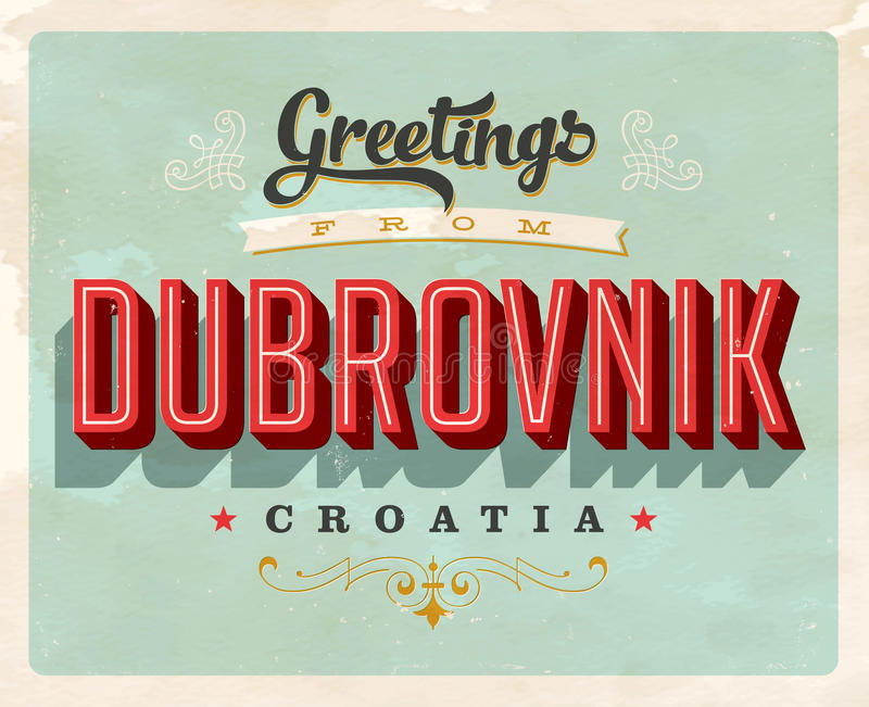 Uitstekende groeten van Dubrovnik, de vakantiekaart van Kroatië royalty-vrije illustratie