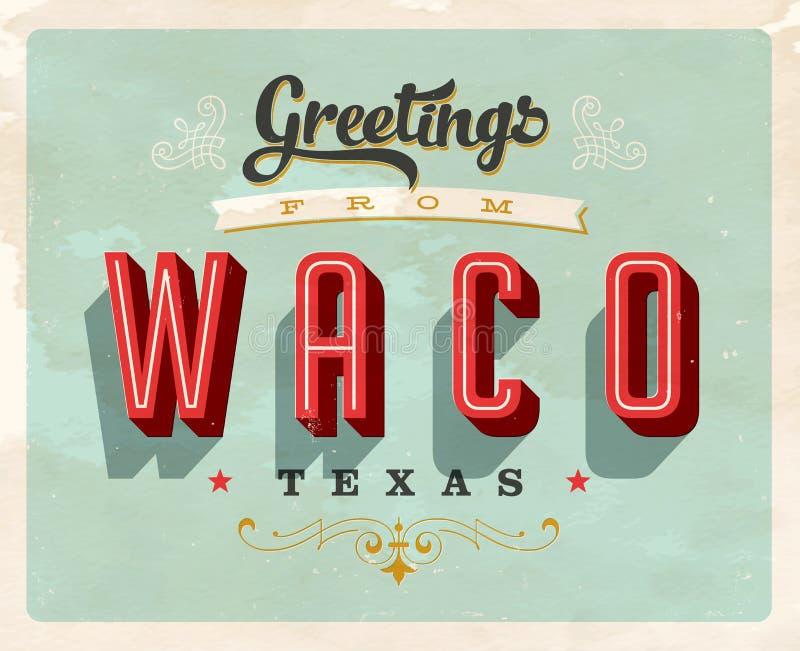 Uitstekende groeten van Waco, de vakantiekaart van Texas stock illustratie