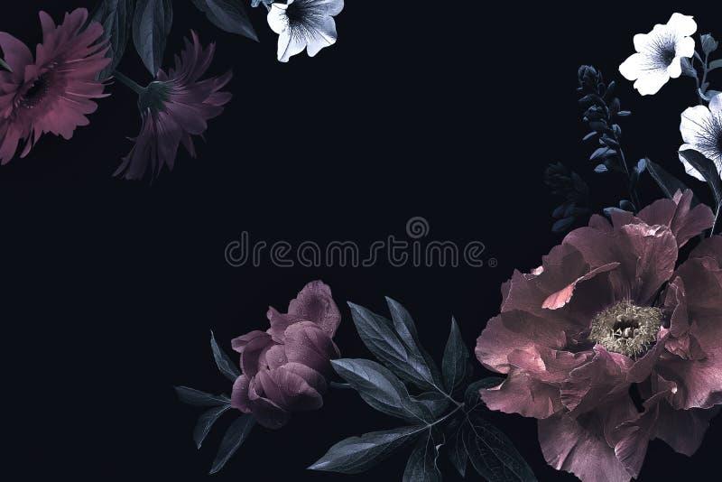 Uitstekende groetkaart met bloemen vector illustratie