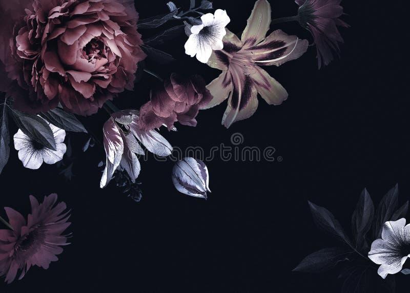 Uitstekende groetkaart met bloemen royalty-vrije illustratie