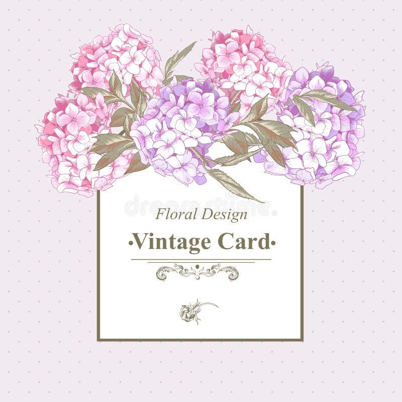 Uitstekende Groetkaart met Hydrangea hortensia en Pioenen vector illustratie