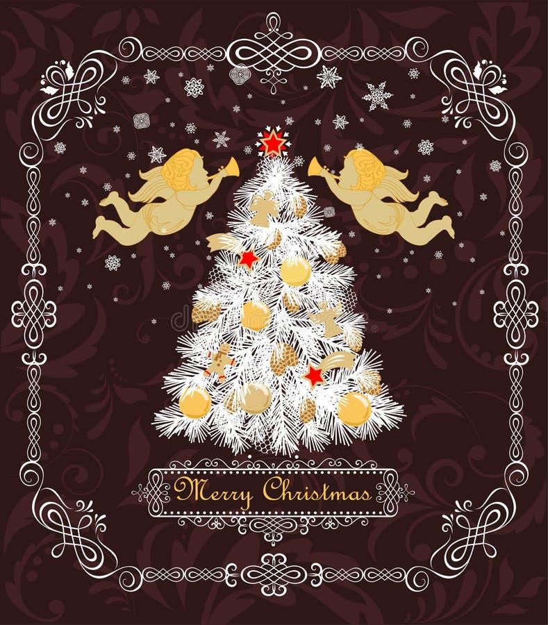 Uitstekende groetkaart met Kerstmis witte boom met gouden ballen, snuisterijen, koekjes, suikergoed, engelen, ster en peperkoek,  vector illustratie