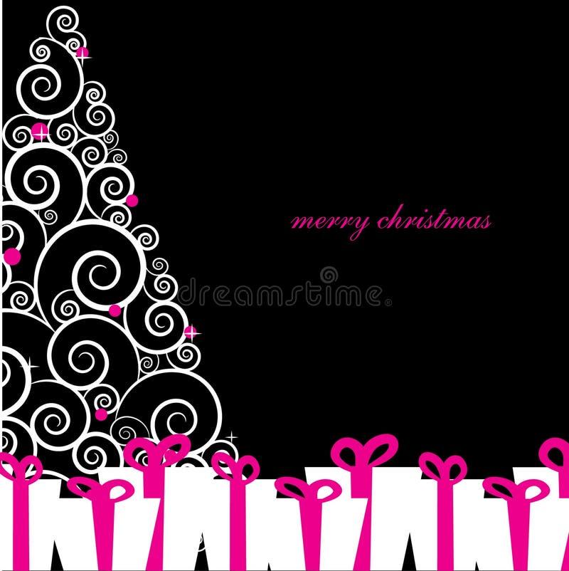 Uitstekende groetkaart met Kerstmisboom vector illustratie