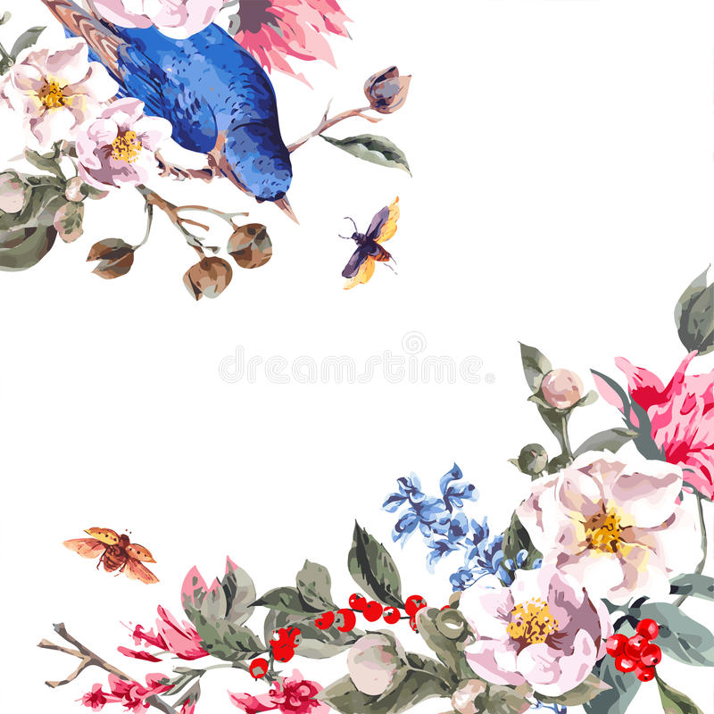 Uitstekende Groetkaart met Roze Bloemen, Kevers royalty-vrije illustratie