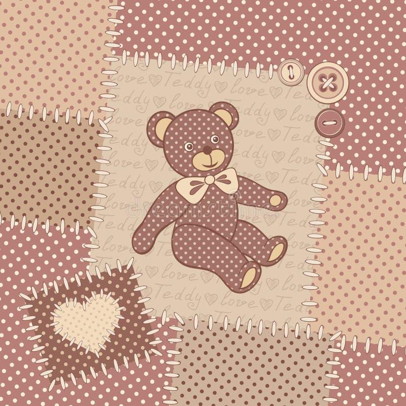 Uitstekende groetkaart met teddybeer royalty-vrije illustratie