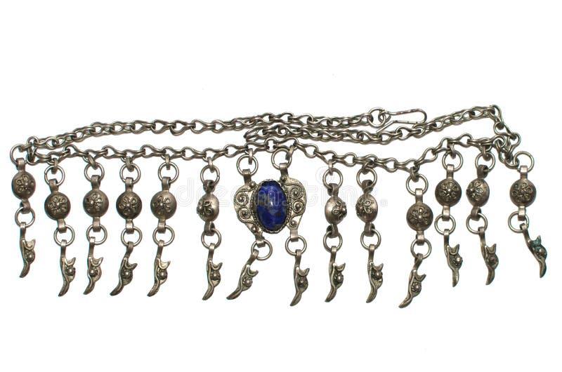Uitstekende halsband met blauwe halfedelsteen stock afbeeldingen