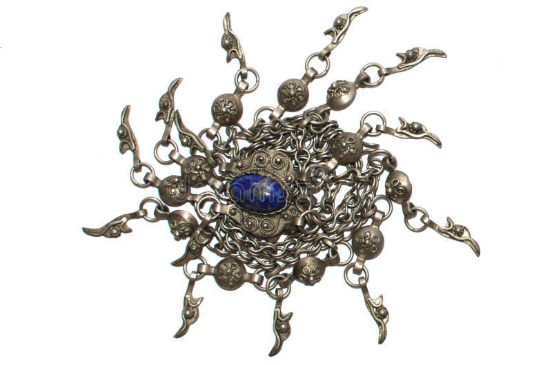 Uitstekende halsband met blauwe halfedelsteen royalty-vrije stock afbeelding