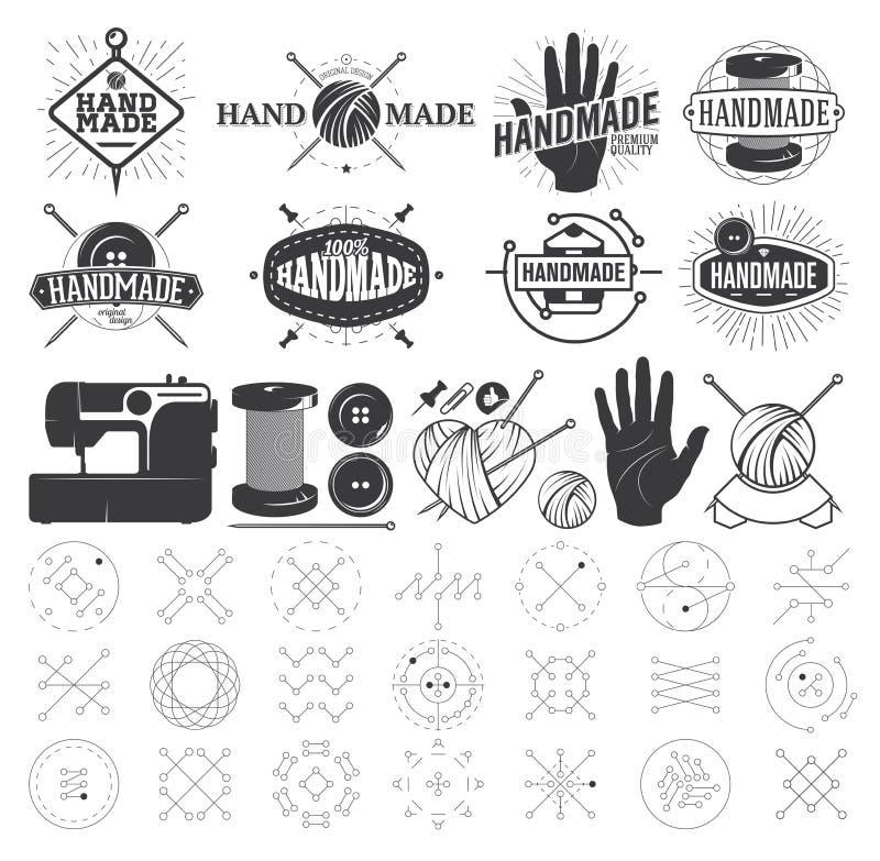 Uitstekende Hand - gemaakt embleem, Etiketten, Kentekens vector illustratie