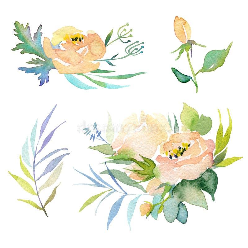 Uitstekende hand getrokken bloemen Bloemen waterverfillustratie Groetkaart voor Moederdag, huwelijk, verjaardag, Pasen stock fotografie
