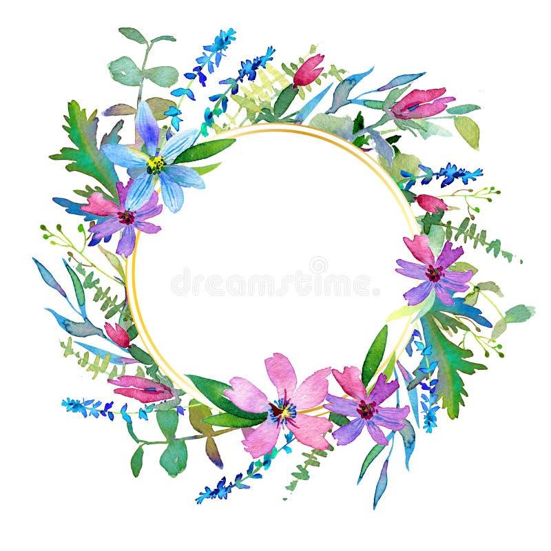 Uitstekende hand getrokken bloemen Bloemen waterverfillustratie Groetkaart voor Moederdag, huwelijk, verjaardag, Pasen royalty-vrije stock foto