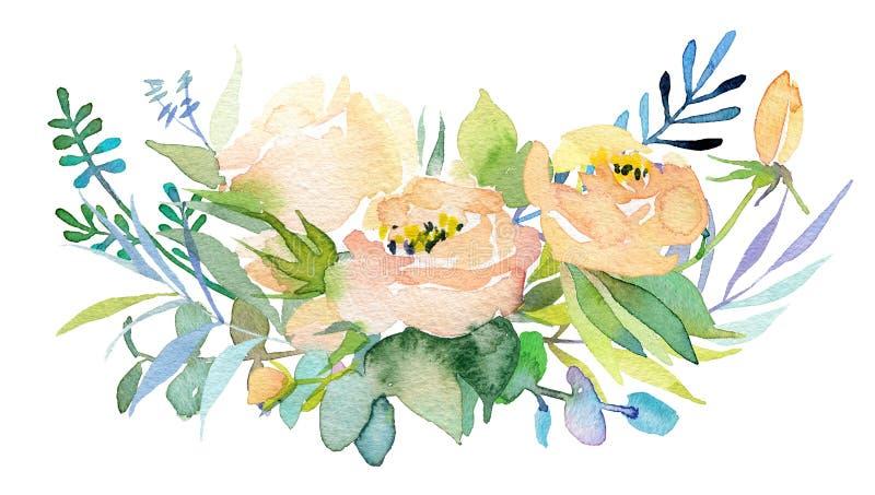 Uitstekende hand getrokken bloemen Bloemen waterverfillustratie Groetkaart voor Moederdag, huwelijk, verjaardag, Pasen stock foto