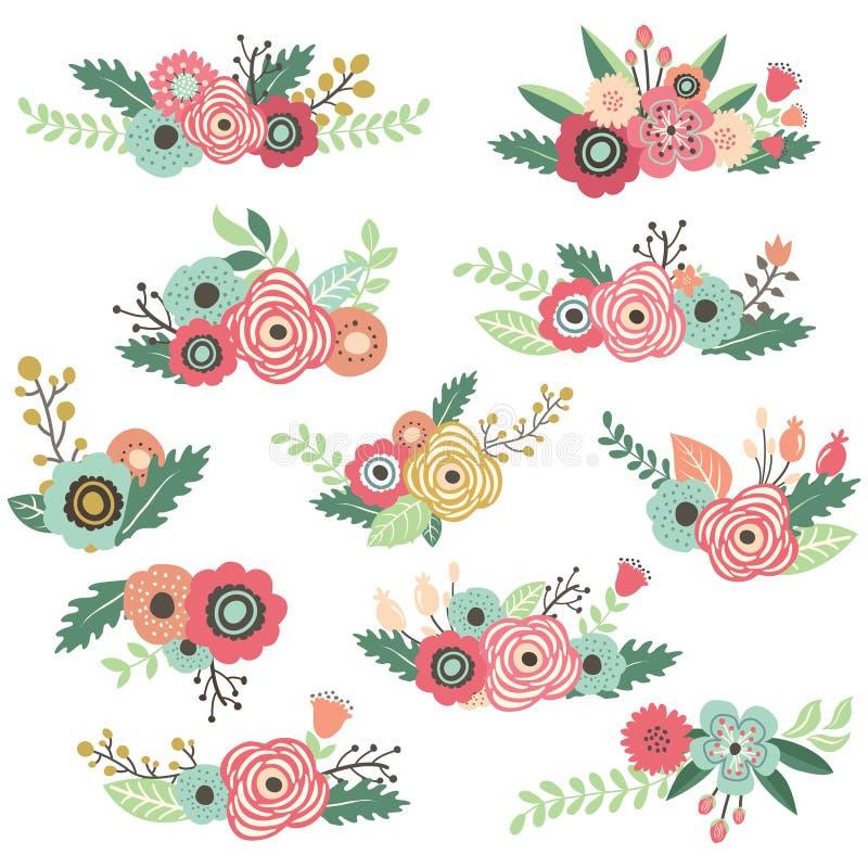 Uitstekende Hand Getrokken Bloemenboeketreeks vector illustratie