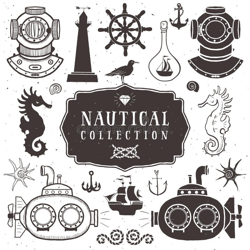 Uitstekende hand getrokken elementen in zeevaartstijl volume 2 royalty-vrije illustratie