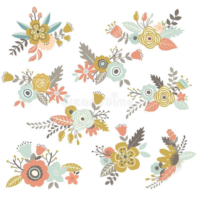 Uitstekende Hand Getrokken Geplaatste Bloemen vector illustratie
